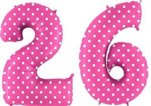 Luftballon Zahl 26 Zahlenballon pink mit weißen Punkten (100 cm)