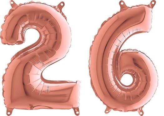 Luftballon Zahl 26 Zahlenballon rosegold (66 cm)