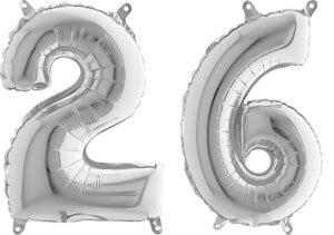 Luftballon Zahl 26 Zahlenballon silber (66 cm)