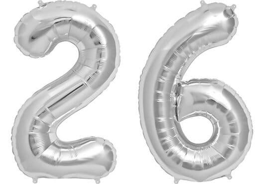 Luftballon Zahl 26 Zahlenballon silber (86 cm)