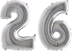 Luftballon Zahl 26 Zahlenballon silber-holographic (100 cm)
