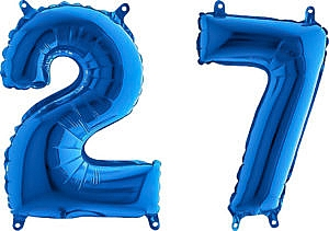 Luftballon Zahl 27 Zahlenballon blau (66 cm)