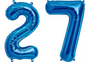Luftballon Zahl 27 Zahlenballon blau (86 cm)