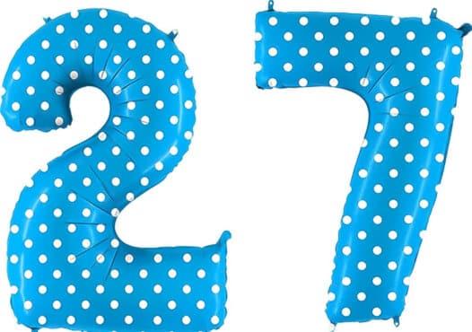 Luftballon Zahl 27 Zahlenballon blau mit weißen Punkten (100 cm)