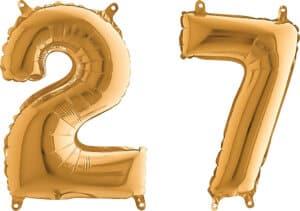 Luftballon Zahl 27 Zahlenballon gold (66 cm)