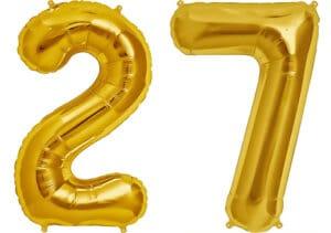Luftballon Zahl 27 Zahlenballon gold (86 cm)