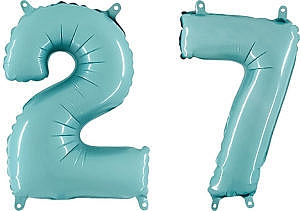 Luftballon Zahl 27 Zahlenballon pastell-blau (100 cm)