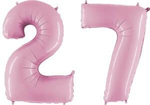 Luftballon Zahl 27 Zahlenballon pastell-pink (100 cm)