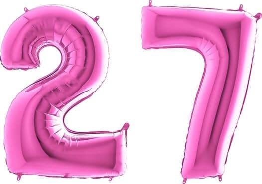 Luftballon Zahl 27 Zahlenballon pink (66 cm)