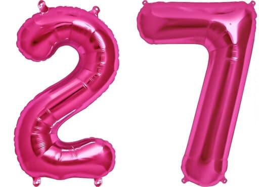 Luftballon Zahl 27 Zahlenballon pink (86 cm)