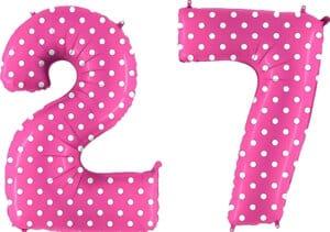 Luftballon Zahl 27 Zahlenballon pink mit weißen Punkten (100 cm)