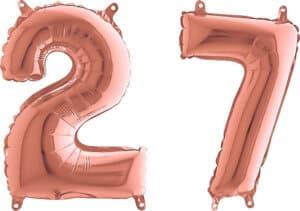 Luftballon Zahl 27 Zahlenballon rosegold (66 cm)