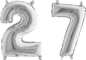 Luftballon Zahl 27 Zahlenballon silber (66 cm)