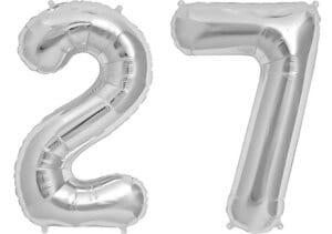 Luftballon Zahl 27 Zahlenballon silber (86 cm)