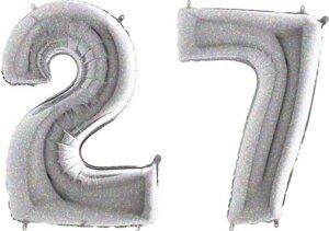 Luftballon Zahl 27 Zahlenballon silber-holographic (100 cm)