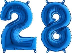 Luftballon Zahl 28 Zahlenballon blau (66 cm)