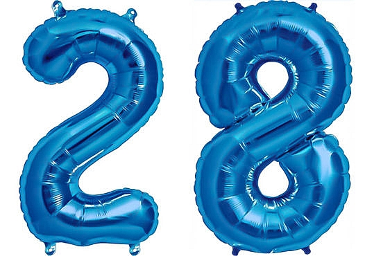 Luftballon Zahl 28 Zahlenballon blau (86 cm)
