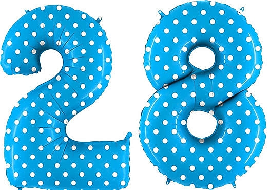 Luftballon Zahl 28 Zahlenballon blau mit weißen Punkten (100 cm)