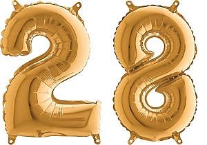 Luftballon Zahl 28 Zahlenballon gold (66 cm)