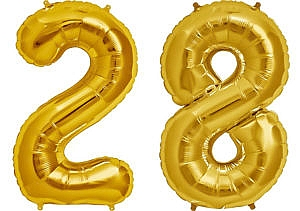 Luftballon Zahl 28 Zahlenballon gold (86 cm)