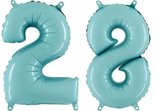 Luftballon Zahl 28 Zahlenballon pastell-blau (100 cm)
