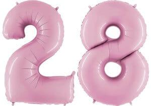Luftballon Zahl 28 Zahlenballon pastell-pink (100 cm)