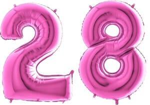 Luftballon Zahl 28 Zahlenballon pink (66 cm)