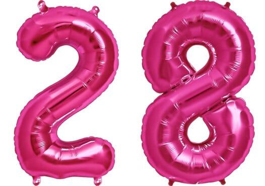 Luftballon Zahl 28 Zahlenballon pink (86 cm)