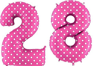 Luftballon Zahl 28 Zahlenballon pink mit weißen Punkten (100 cm)