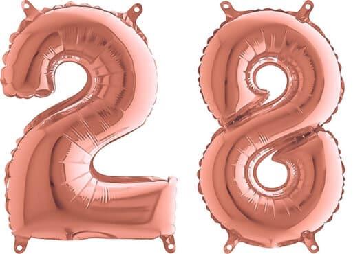 Luftballon Zahl 28 Zahlenballon rosegold (66 cm)