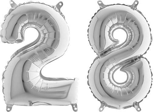 Luftballon Zahl 28 Zahlenballon silber (66 cm)