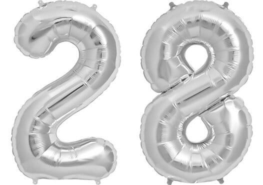 Luftballon Zahl 28 Zahlenballon silber (86 cm)