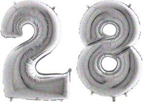 Luftballon Zahl 28 Zahlenballon silber-holographic (100 cm)
