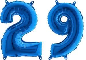 Luftballon Zahl 29 Zahlenballon blau (66 cm)