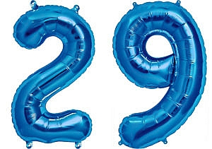 Luftballon Zahl 29 Zahlenballon blau (86 cm)
