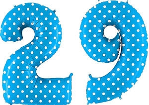 Luftballon Zahl 29 Zahlenballon blau mit weißen Punkten (100 cm)