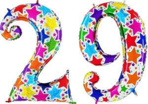 Luftballon Zahl 29 Zahlenballon silber mit bunten Sternen (100 cm)