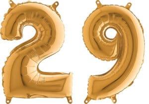 Luftballon Zahl 29 Zahlenballon gold (66 cm)