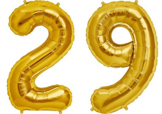 Luftballon Zahl 29 Zahlenballon gold (86 cm)