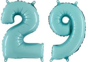 Luftballon Zahl 29 Zahlenballon pastell-blau (100 cm)