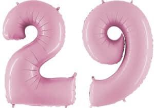 Luftballon Zahl 29 Zahlenballon pastell-pink (100 cm)