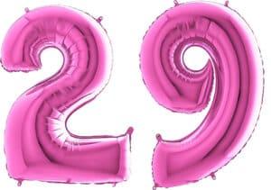 Luftballon Zahl 29 Zahlenballon pink (66 cm)