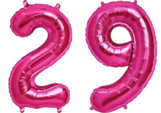 Luftballon Zahl 29 Zahlenballon pink (86 cm)