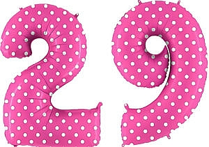 Luftballon Zahl 29 Zahlenballon pink mit weißen Punkten (100 cm)