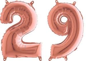 Luftballon Zahl 29 Zahlenballon rosegold (66 cm)