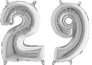 Luftballon Zahl 29 Zahlenballon silber (66 cm)