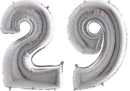 Luftballon Zahl 29 Zahlenballon silber-holographic (100 cm)