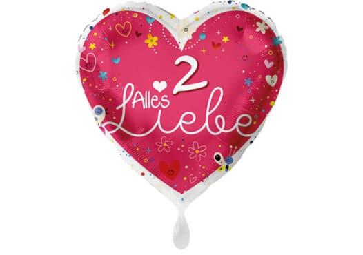 Herz Luftballon Alles Liebe Zahl 2 rot (38 cm)