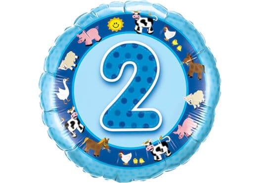 Geburtstagsluftballon mit Kindermotiven und Zahl 2 blau (38 cm)