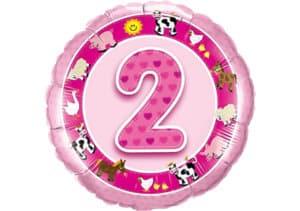 Geburtstagsluftballon mit Kindermotiven und Zahl 2 pink (38 cm)